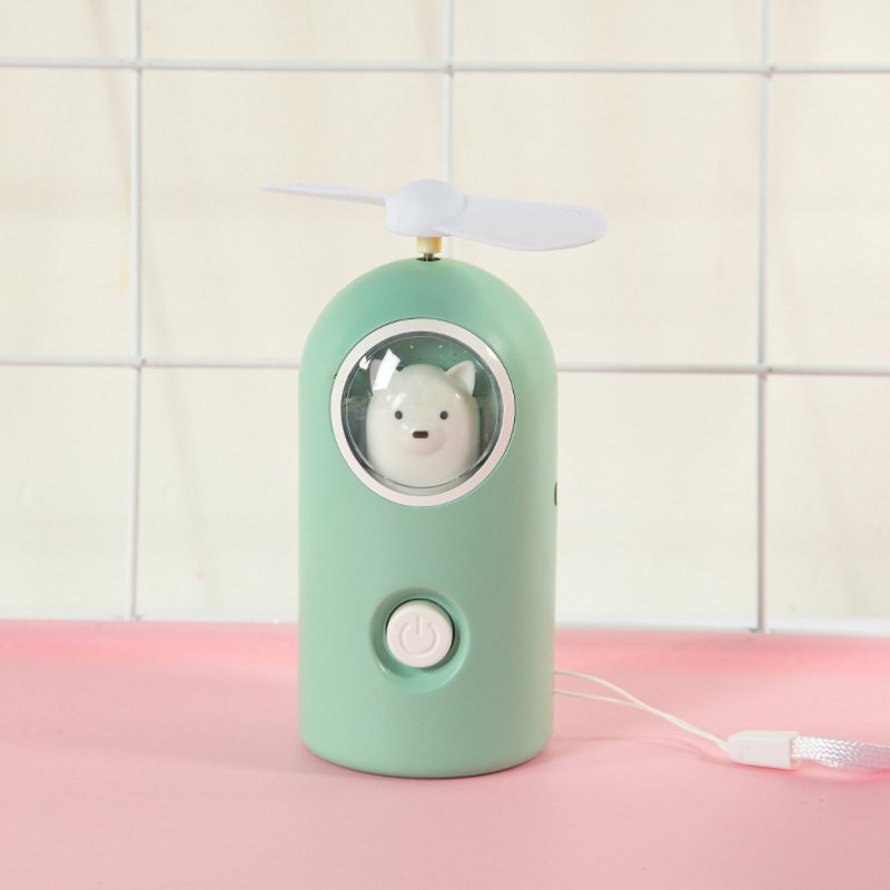 Mini Handheld Fan Cartoon Portable USB Charging with Night Light for Home Office Travel B-green_11 * 4.7cm