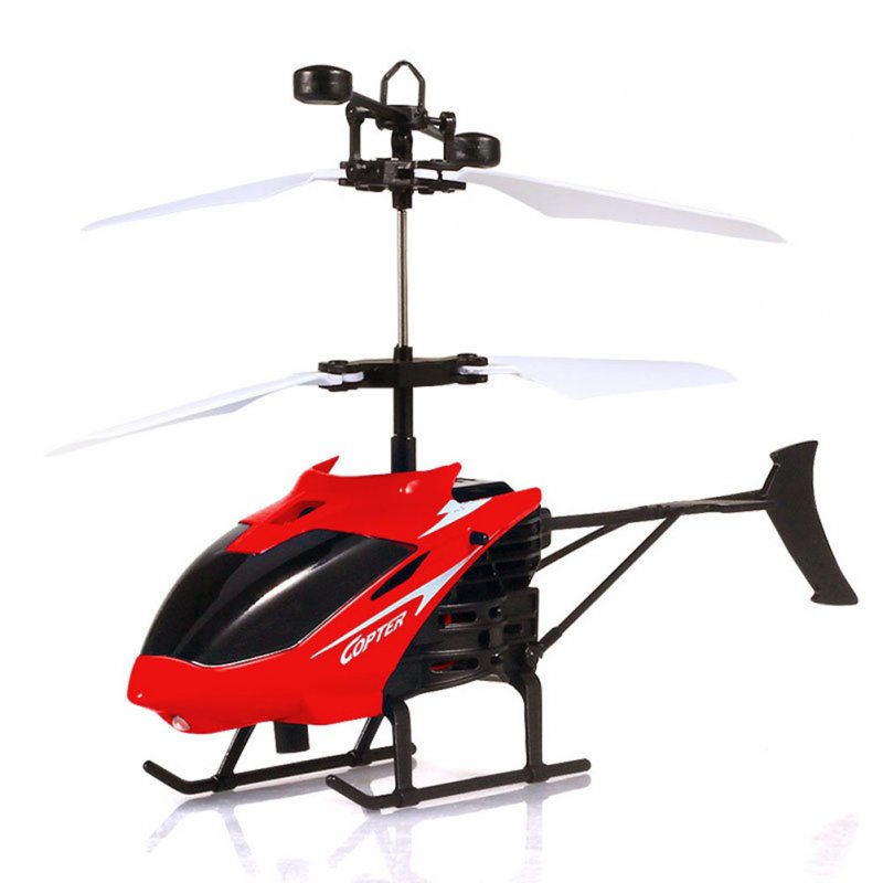 Mini Induction Helicopter Flashing Light Chargeable Aircraft Remote Sensing Plane Toys for Kids red