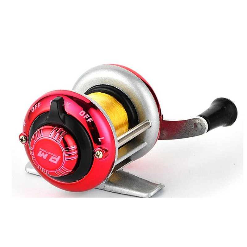 Mini Metal Bait Casting Spinning Reel Ice Fishing Reel Fish Water Wheel Baitcast Roller Ice fishing wheel -red