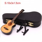 Mini Missing Angle Folk Guitar Miniature Model Wooden Mini Musical Instrument Model Collection with Case Stand S: 10CM_Missing angle folk guitar
