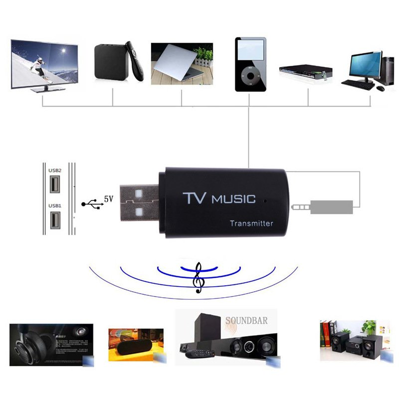 Mini Music Audio Transmitter 2.1 Wireless Audio Music Stereo Transmit Dongle Transmitters for Television Computer DVD MP3 black