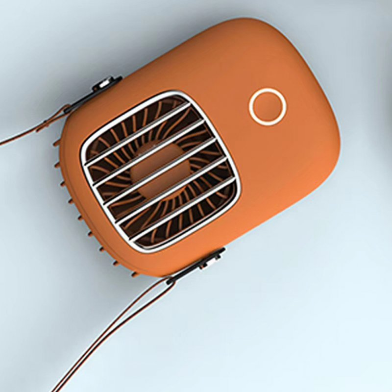 Mini Portable Pocket Fan USB Charging Outdoor Travel Neck Hanging Cooling Fan Orange_fan