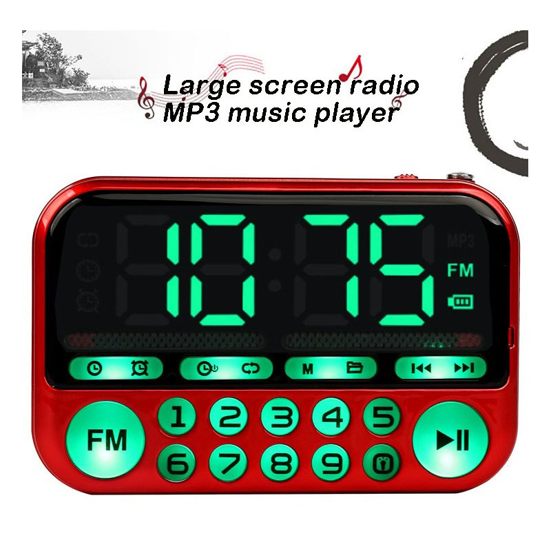 Mini Portable Radio Large Screen Handheld Digital FM USB TF MP3 Rechargeable Player Speaker red