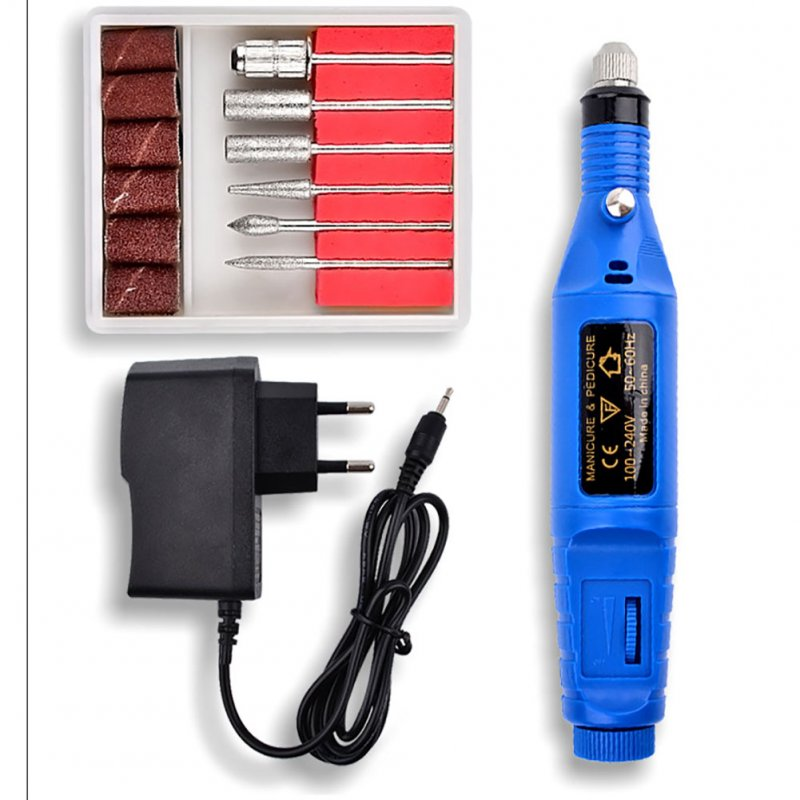 Mini Professional Electric Nail Kit Manicure Pedicure Tool Exquisite Nail Polisher Grinder  American Blue
