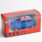 Mini Simulate the Union Flag Pattern Alloy Car Pull Back Door Opening Toy for Boys(Box Packing) blue