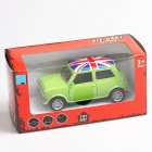Mini Simulate the Union Flag Pattern Alloy Car Pull Back Door Opening Toy for Boys(Box Packing) green