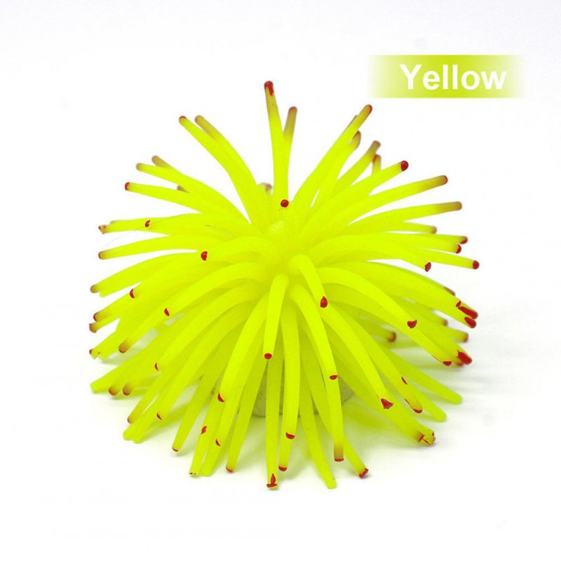 Mini Simulation Sea Urchin Ball Aquarium Fish Bowl Decoration yellow