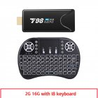 Mini Tv  Stick  Box Tv T98 Mini Tvbox Rk3318 Android10.0 Tv  Box Media Player Tv Receiver 2+16g 2+16G_British plug+I8 Keyboard
