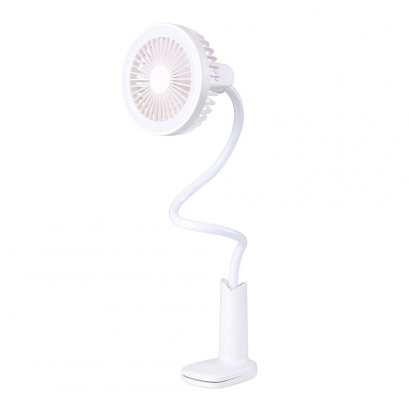 Mini USB Charging Sprinkler Shape Table Lamp Fan with Clip for Baby Stroller white