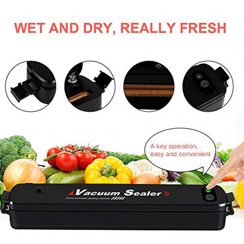 Mini Vacuum Sealer Home Automatic Food Sealer Packing Machine with 15 Bags for Food Preservation AU plug + 15 bags
