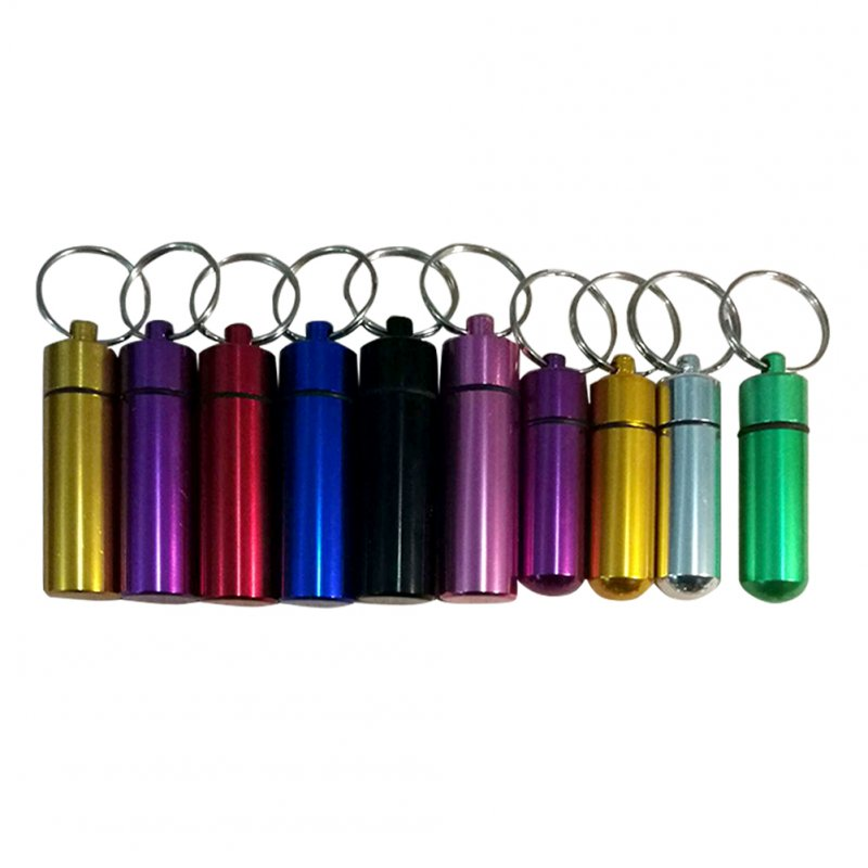 Mini Waterproof Pill Box Case Portable Outdoor Aluminum Pills Bottle Stash Holder with Keychain random_17mm * 48mm