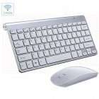 Mini Wireless Keyboard Mouse Set Waterproof 2.4G for Mac Apple PC Computer Silver