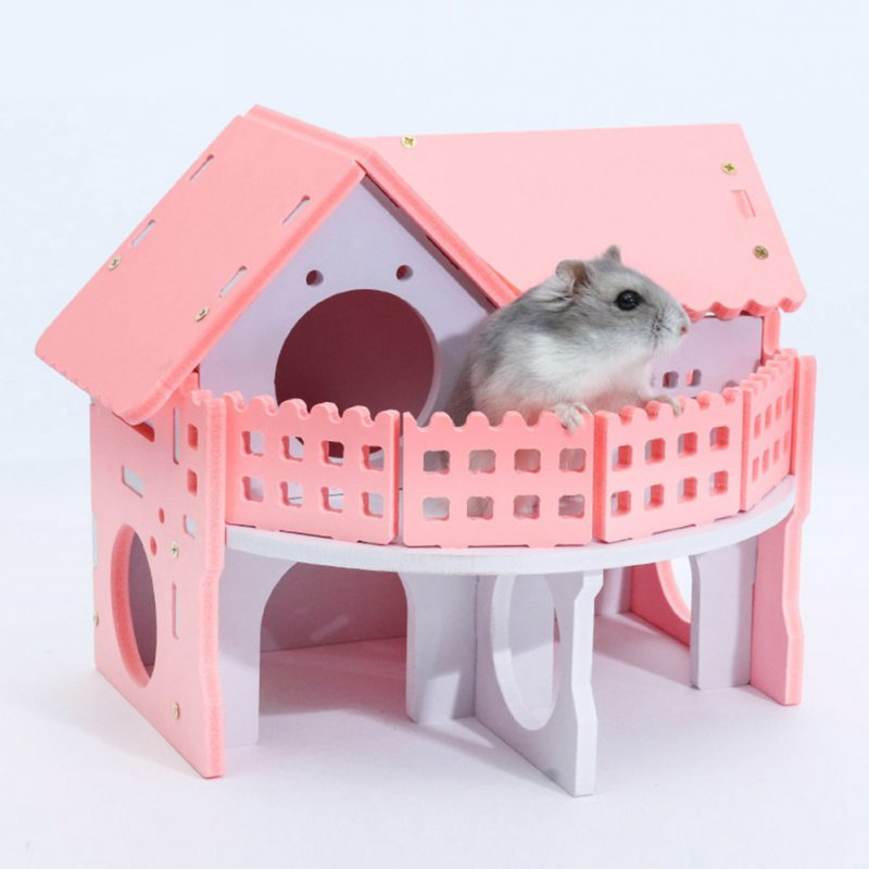 Mini Wooden Double-layer Environment-friendly Villa with Balcony Shape Sleeping Nest Toy for Hamster Pet Pink_Balcony villa