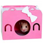 Mini Wooden House Shape Sleeping Nest Toy for Hedgehog Guinea Pig Hamster Pet Pink_S