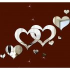 Mirror Heart Shape Wall Sticker Fashion Removable Home Living Room Bedroom 3D Decoration Silver