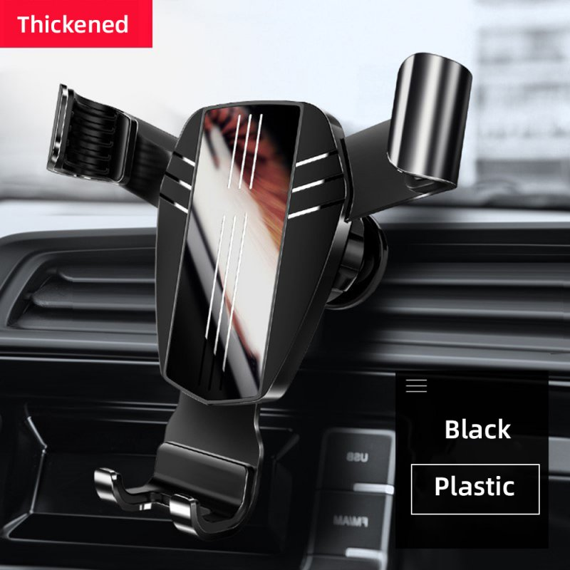Mirror Metal Car Phone Holder Fixed Air Outlet Clip Charging Gravity Portable Universal for iPhone Huawei Accessories ABS black