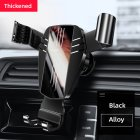 Mirror Metal Car Phone Holder Fixed Air Outlet Clip Charging Gravity Portable Universal for iPhone Huawei Accessories Alloy black