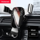 Mirror Metal Car Phone Holder Fixed Air Outlet Clip Charging Gravity Portable Universal for iPhone Huawei Accessories Alloy silver