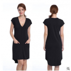 Missky Women s V neck Short Sleeve Casual Dress with Irregular Hem Black M