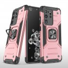 Mobile Case with Bracket for Samsung S20 Ultra Anti-drop All-inclusive  PVC bag Rose gold