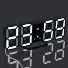 Modern Digital LED Desktop Desk Night Alarm Clock 24 Hours 12 Hours Electronic Temperature Display Time Black frame white light