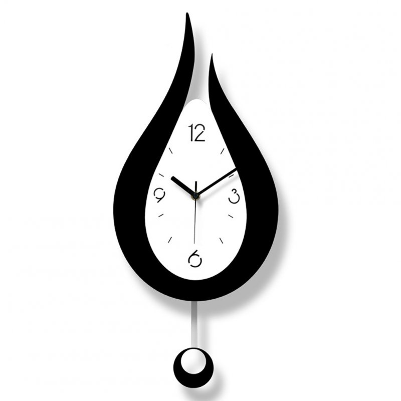 Modern Mute Water Droplets Shape Swing Wall Clock for Living Room Bedroom  Black and white