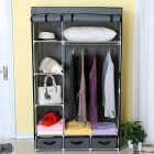 Modern Non-woven Cloth Wardrobe Baby Storage Cabinet with Drawer Bedroom Furniture gray