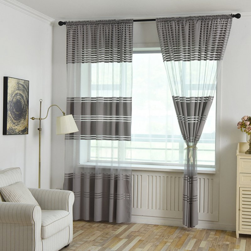 Modern Striped Tulle Curtains for Living Room Bedroom Window Shading gray_1*2.7 meters high