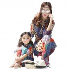 Mom and Girl kid Suits Dress Bohemian Seven Sleeve Long Skirt for Travel  orange M 170