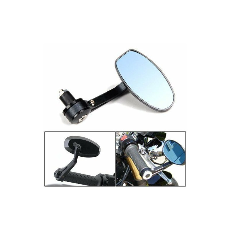 Motorcycle 7/8 inch Handle Bar End Mirrors For HONDA SUZUKI YAMAHA CAFE RACER Black blue mirror