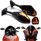 Motorcycle Double LED Turn Lights Side Mirrors Turn Signal Indicator Rearview Mirror For Honda Suzuki Kawasaki Ducati Yamaha  black Pointed double lamp