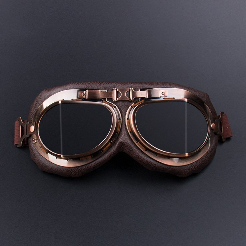 Motorcycle Goggles Glasses Vintage Motocross Retro Aviator Pilot Cruiser ATV UV Protection Goggles