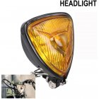 Motorcycle Headlight  Amber Triangle Chrome Headlight Lamp for Chopper Bobber black