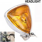Motorcycle Headlight  Amber Triangle Chrome Headlight Lamp for Chopper Bobber plating