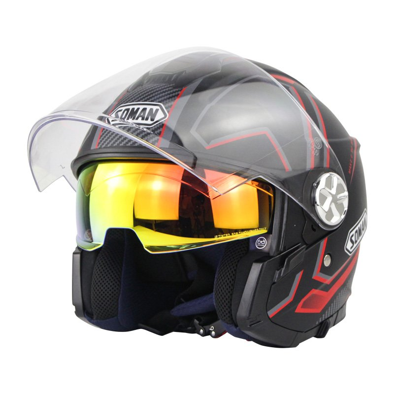 Motorcycle Helmet 3/4 Electrical Helemets Dual Visor Half Face Motorcycle Helmet   Black and red sky array_XL