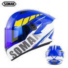 Motorcycle Helmet Anti-Fog Lens sith Fast Release Buckle and Ventilation System Wearable Ergonomic Helmet Suzuki Blue_M