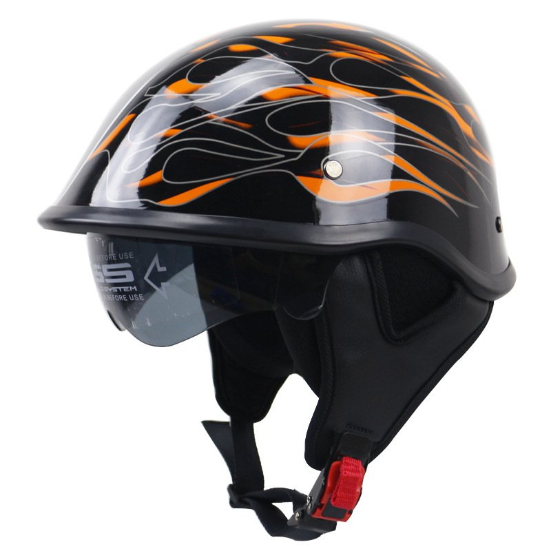 Motorcycle Helmet Black Flame Pattern Retro Half Face Helmet Bike Crash Helmet Bright black flame_XXL