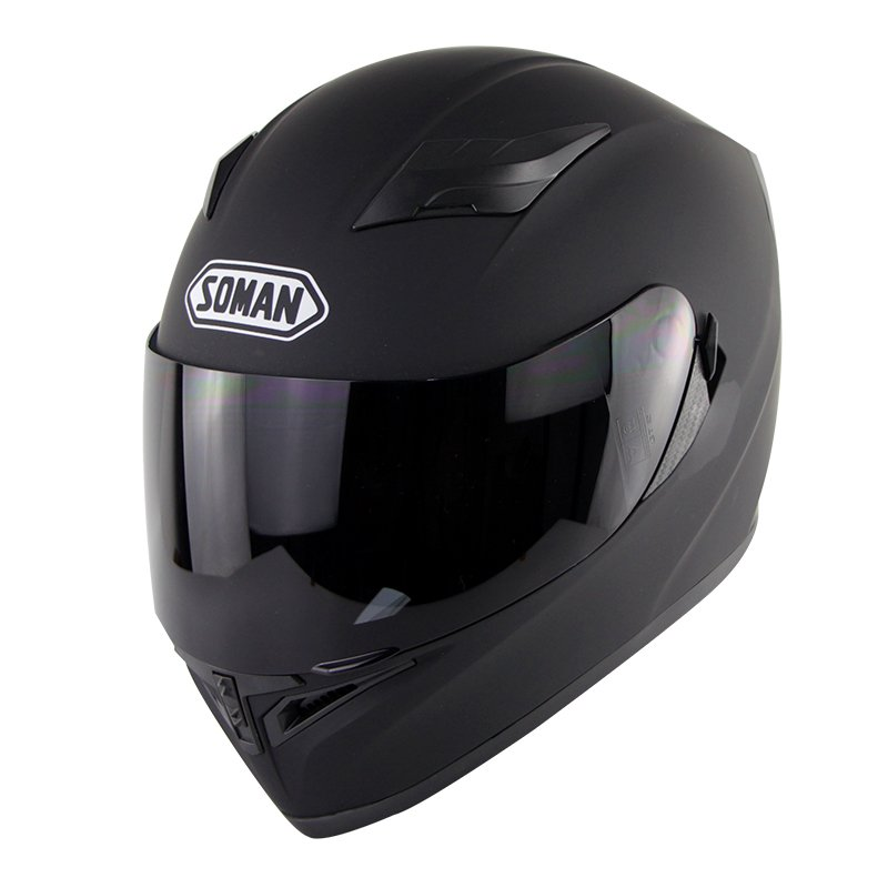 Motorcycle Helmet Men Women Full Face Helmet Moto Riding Motocross Motorbike Helmet  Matte black with tea lens_XXL