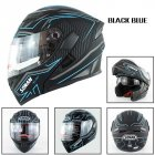 Motorcycle Helmet Unisex Double Lens Uncovered Helmet Off-road Safety Helmet Matte black and blue lines_XL