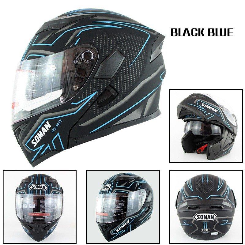 Motorcycle Helmet Unisex Double Lens Uncovered Helmet Off-road Safety Helmet Matte black and blue lines_XXL