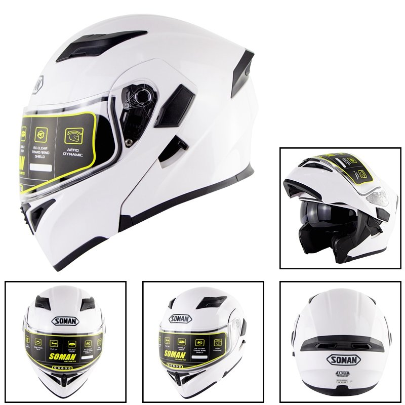 Motorcycle Helmet Unisex Double Lens Uncovered Helmet Off-road Safety Helmet white_XL