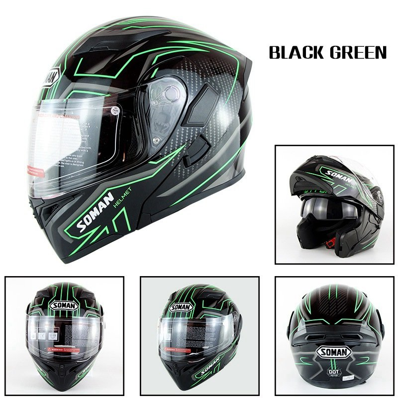 Motorcycle Helmet Unisex Double Lens Uncovered Helmet Off-road Safety Helmet Bright black and green lines_M