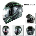 Motorcycle Helmet Unisex Double Lens Uncovered Helmet Off-road Safety Helmet Bright black and green lines_XXL