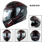 Motorcycle Helmet Unisex Double Lens Uncovered Helmet Off-road Safety Helmet Matte black and red lines_S