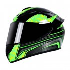 Motorcycle Helmet cool Modular Moto Helmet With Inner Sun Visor Safety Double Lens Racing Full Face the Helmet Moto Helmet Green lightning_L