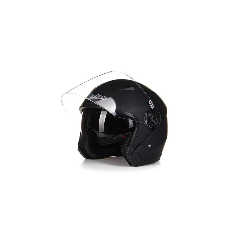 Motorcycle High Strength Open Face Capacete Motorcycle Vintage Helmets with Dual Lens Matte black_XXL