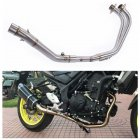 Motorcycle Middle Pipe Full System Exhaust Slip-On for Yamaha MT03 MT-03 YZF R3 R25 YZF-R3 Silver
