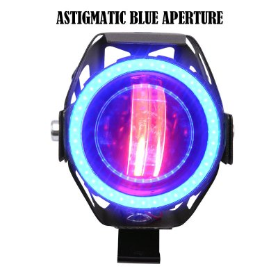 Motorcycle Modified Waterproof High Bright Colored LED Exterior Angel Devil Eye Spotlight Blue upgrade