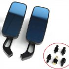 Motorcycle Rearview Mirror Rectangle Steady Rearview Mirrors 8/10mm For Honda Suzuki Kawasaki Blue lens