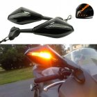 Motorcycle Rearview Mirrors Led Turn Signal Integrated Indicator Lights Rear View Side Mirrors black